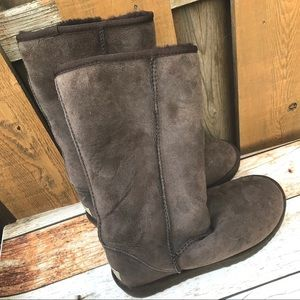Ugg brown suede boots winter faux fur brown 7